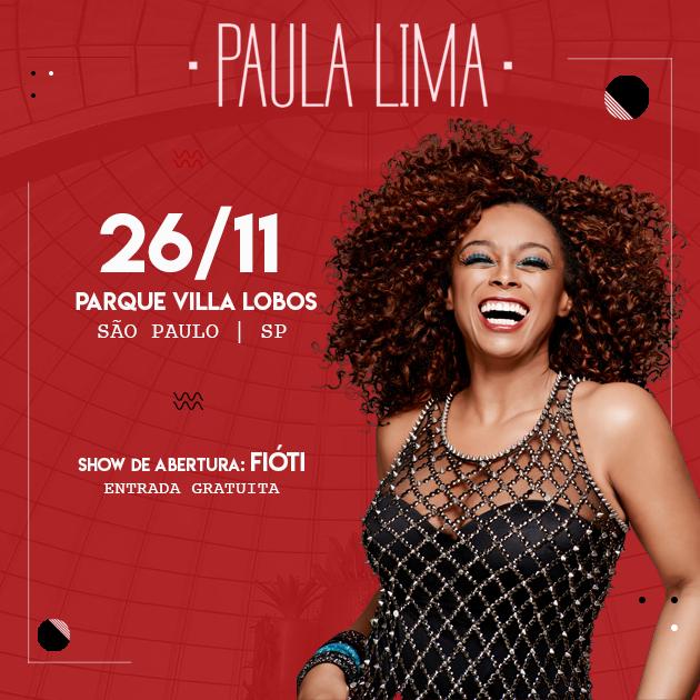 Paula Lima faz show no Parque Villa-Lobos neste fim de semana com entrada franca #nota