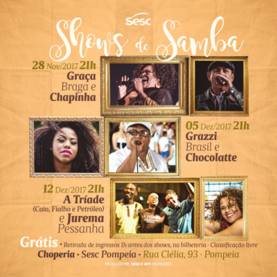 Shows de samba na Choperia do SESC Pompeia com entrada franca