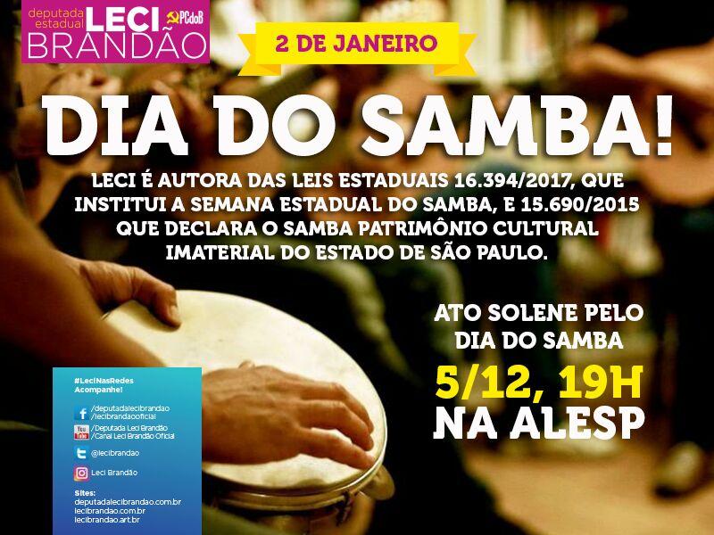 Leci Brandão promove ato solene pelo Dia do Samba na Assembleia Legislativa de São Paulo #nota