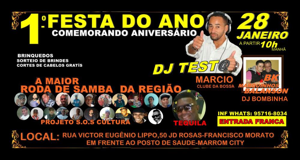 Roda de samba do projeto SOS Cultura acontece no fim do mês com festa de aniversário do DJ Test@ #nota