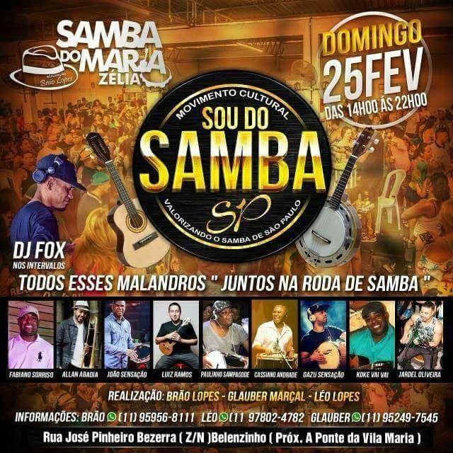 Movimento Cultural Sou do Samba SP traz roda de samba e DJ Fox na discotecagem #nota