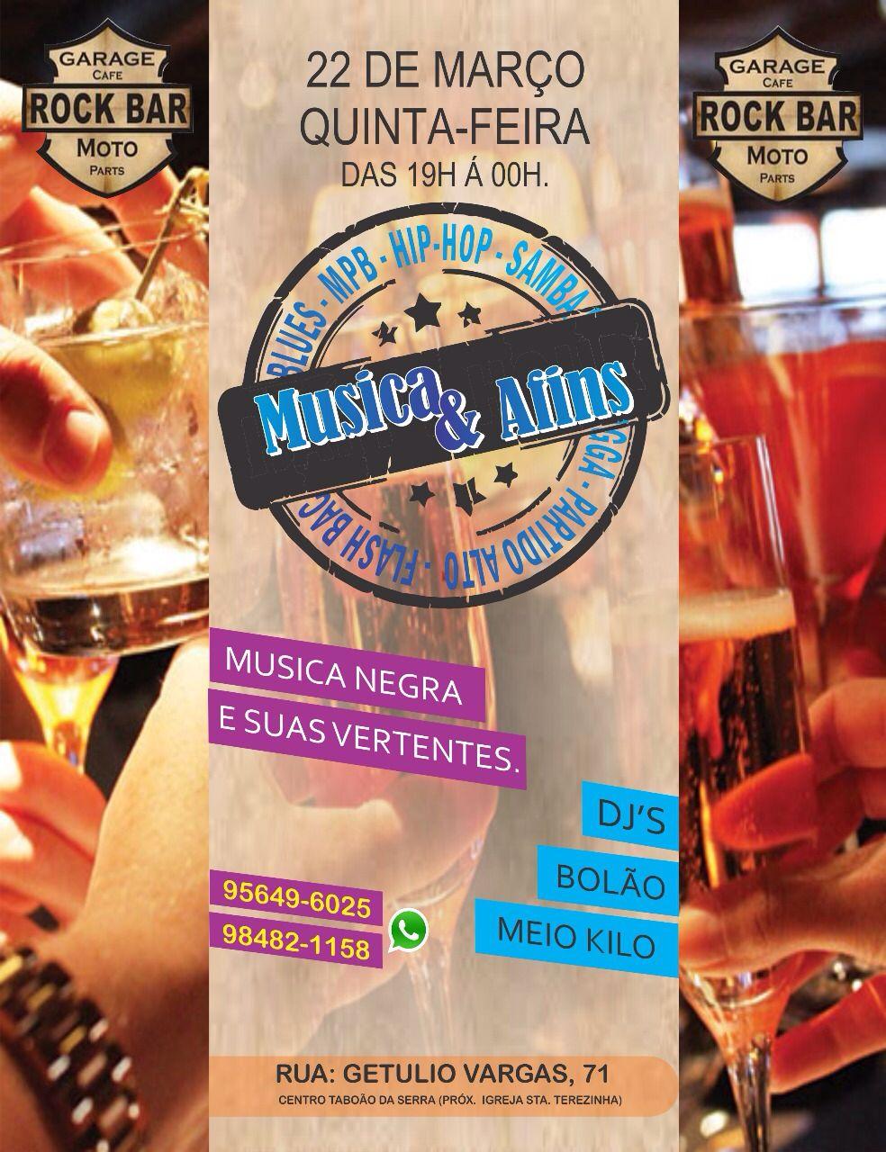Projeto Música & Afins acontece esta semana com DJs Bolão e Meio Kilo #nota