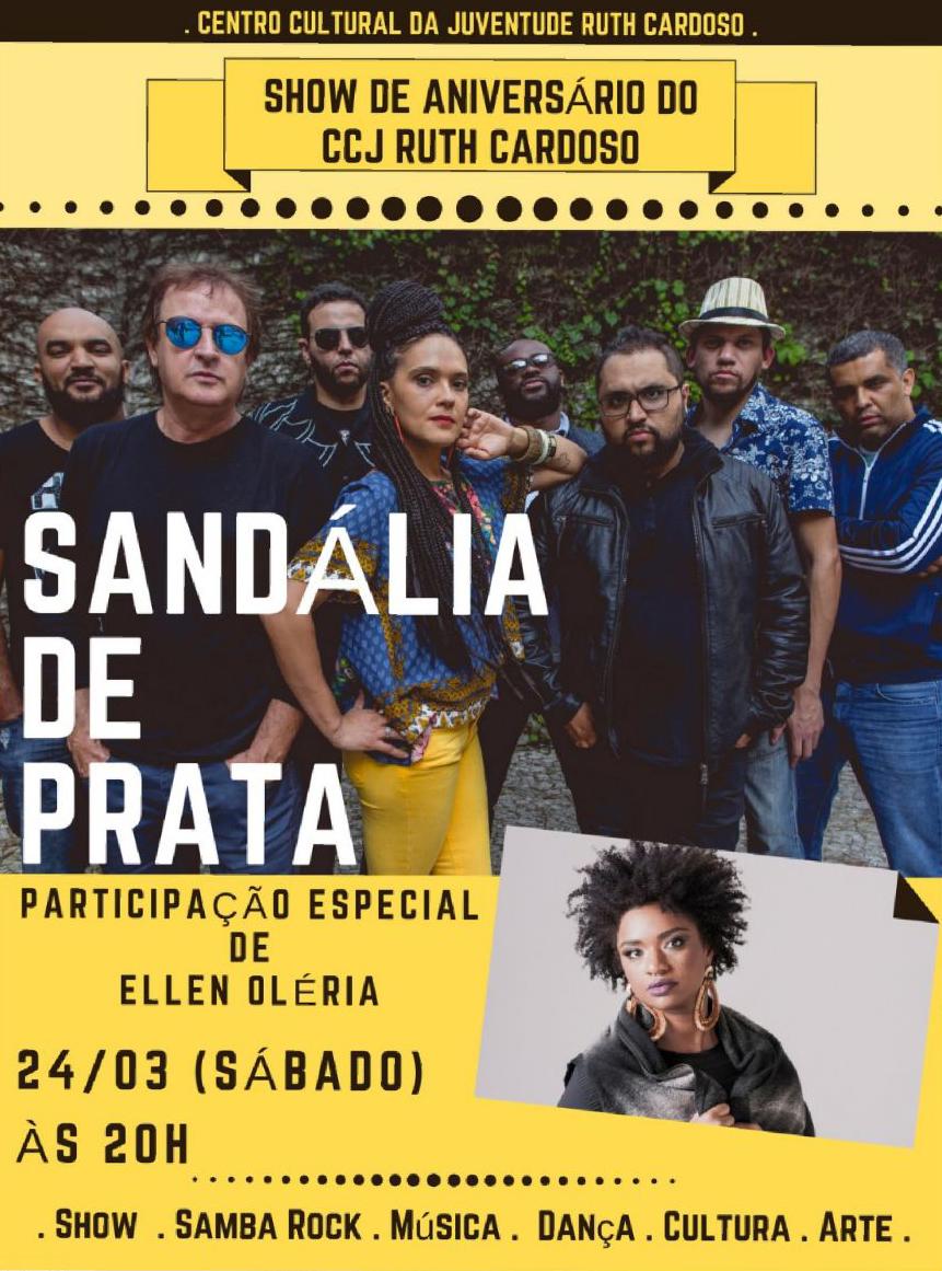 CCJ recebe neste sábado show da banda Sandália de Prata com participação de Ellen Oléria #nota