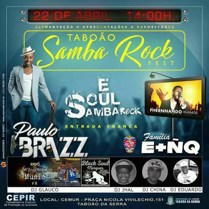 Em abril acontece a Taboão Samba Rock Fest #nota