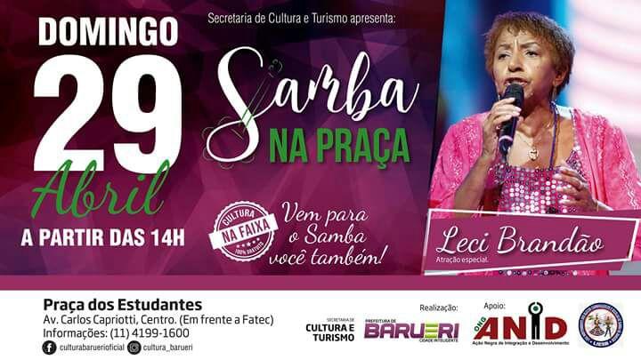 Barueri promove Samba na Praça com apresentação de Leci Brandão; Acesso gratuito #nota