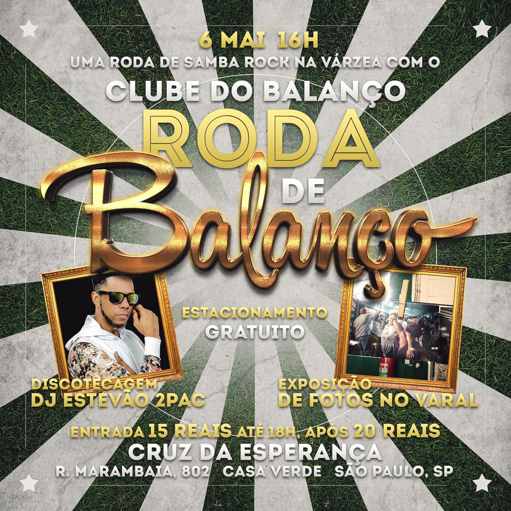 Roda de Balanço no Cruz da Esperança no primeiro domingo de maio com Clube do Balanço e DJ Estevão 2pac