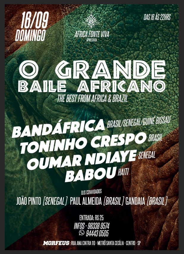 Toninho Crespo se apresenta em evento de música africana; O Grande Baile Africano #nota
