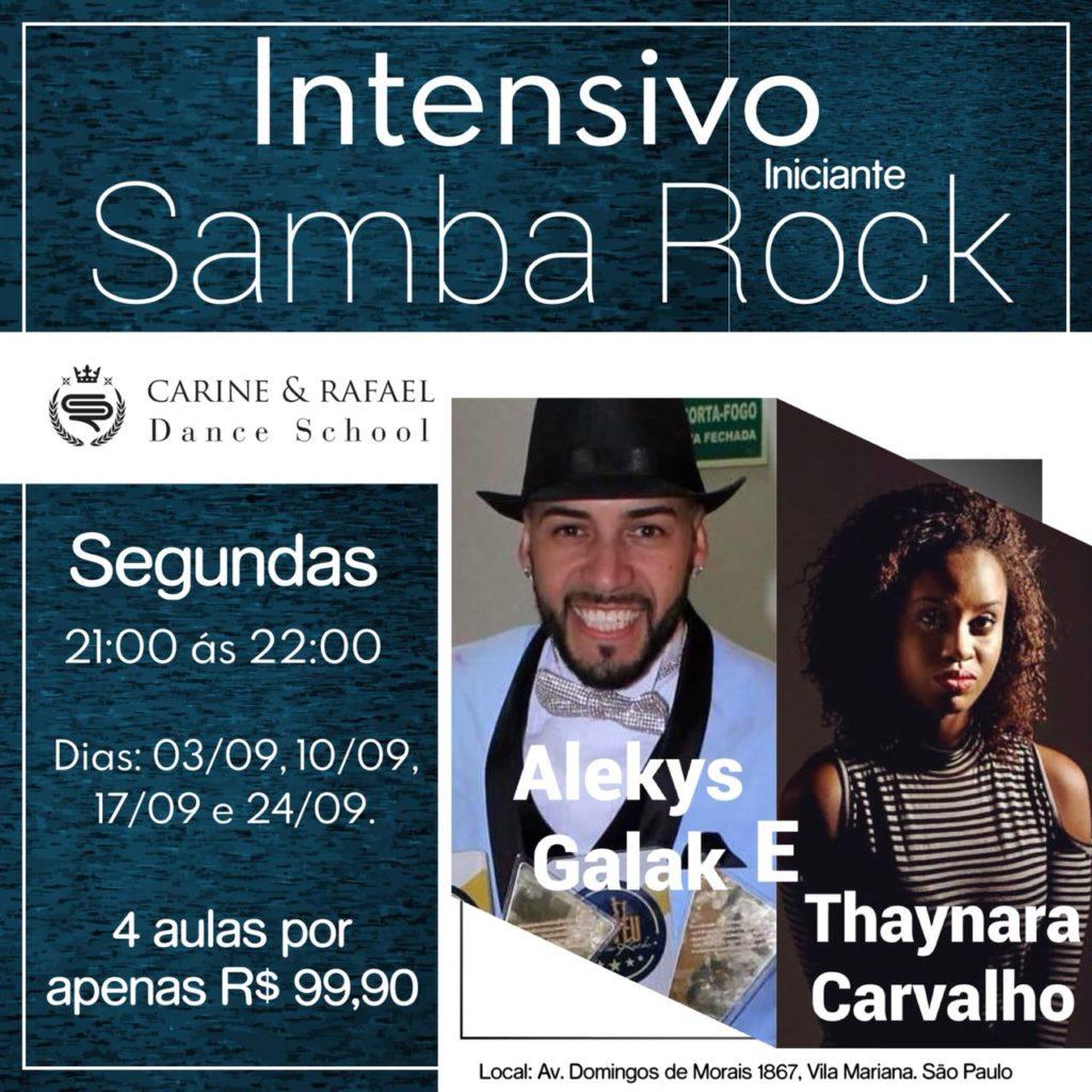 Faça um curso intensivo de samba rock iniciante com Thaynara e Alekys no mês de setembro #nota