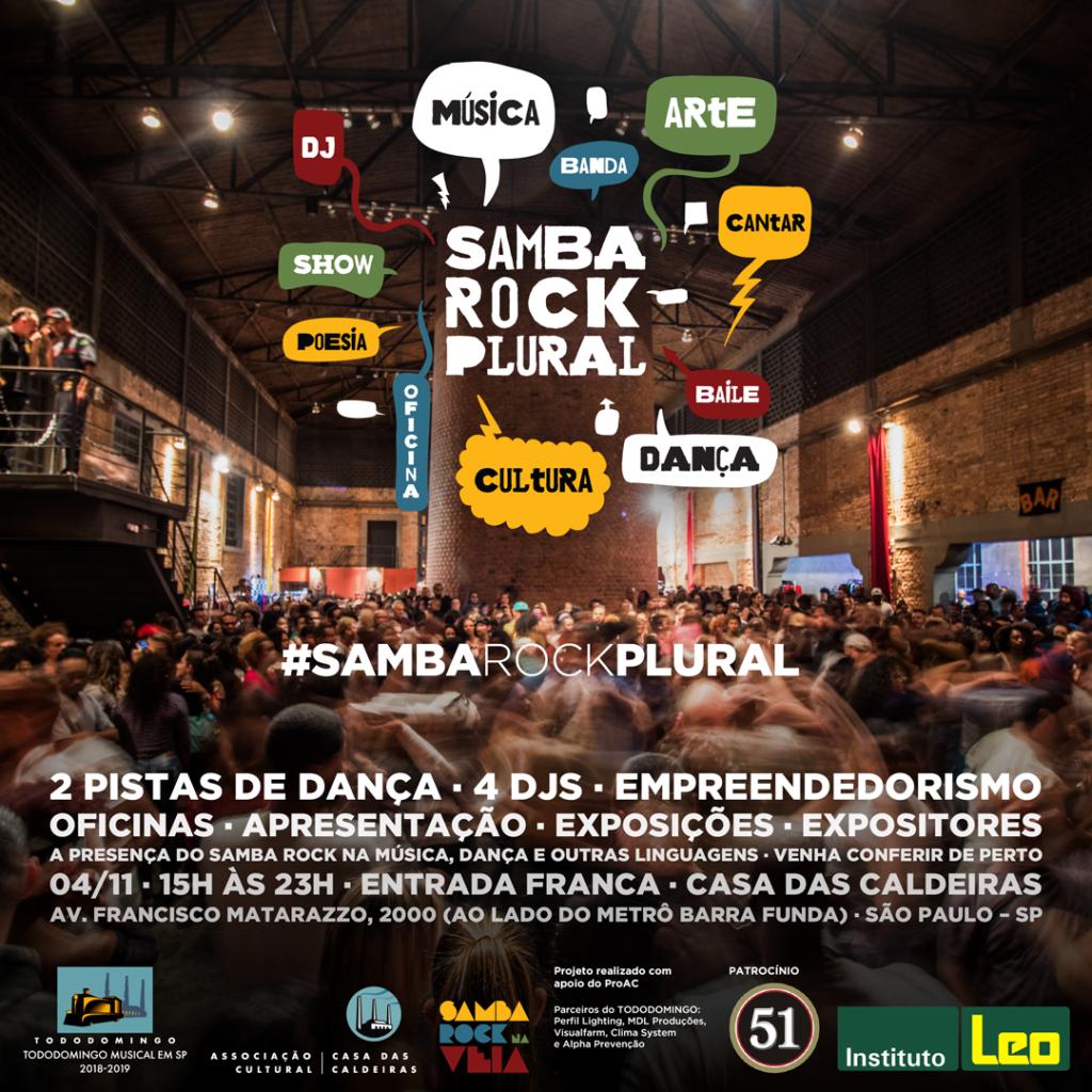 Samba Rock Plural em sua 20ª edição na Casa das Caldeiras com entrada franca